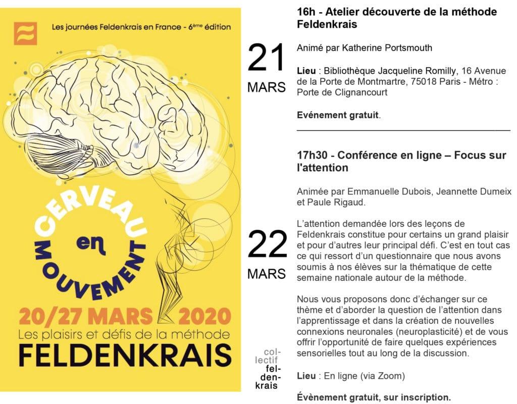 Journées Feldenkrais en France 2020 – Atelier découverte et conférence en ligne